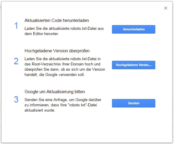 Google Search Console robots.txt abrufen und an Google senden